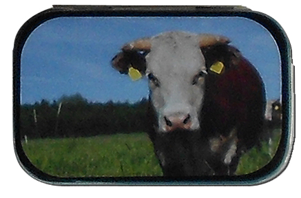 cow party tin mint box
