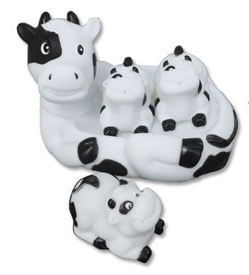 cow kids bath toy set