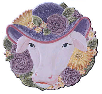 cow easter plate