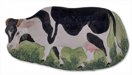 cow serving tray dining