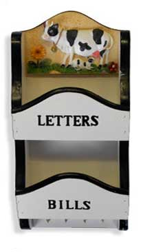 cow letter holder dangling feet