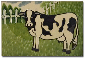 cow kitchen ceramic tile art