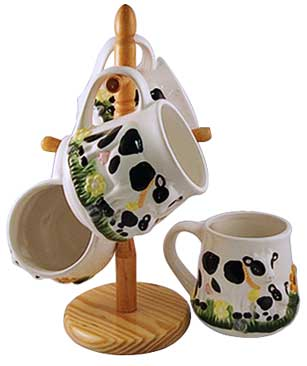 cow kitchen mugs and stand
