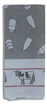 cow milk bottle kitchen towel patttern