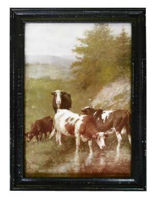 brown cow painting