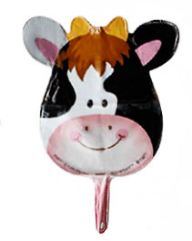 cow party hand held small helium balloon