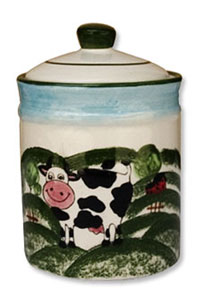 cow porcelain pasture jar