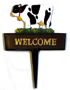 cow welcome garden stake