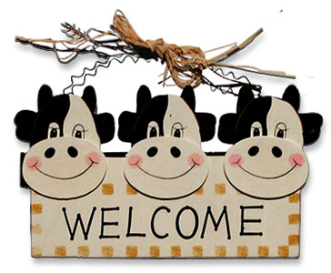 cow welcome plaque