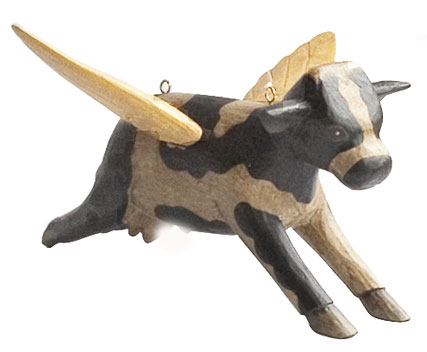 Holy Cow Wooden Statue